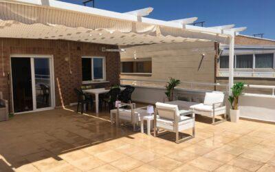 Toldos planos 6,00m x 3,00m en terraza en Marina d´Or (Oropesa)