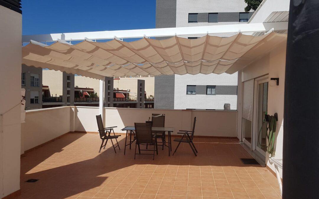 Toldo plano doble terraza 125×125 de 6,75m x 5,50m en Castellón